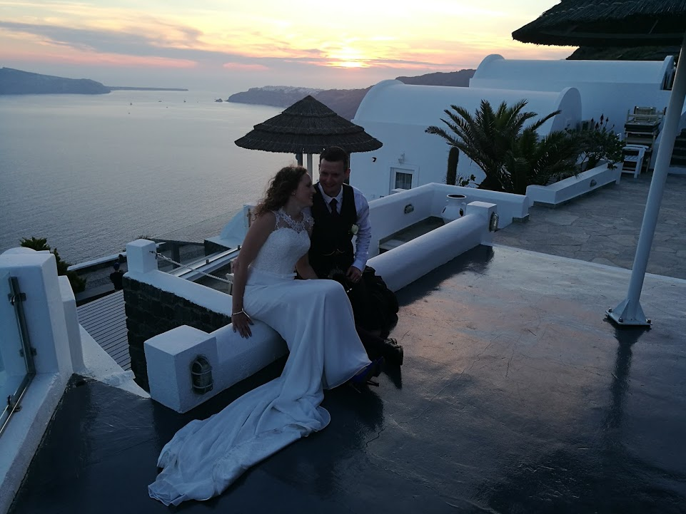 sunset Santorini wedding