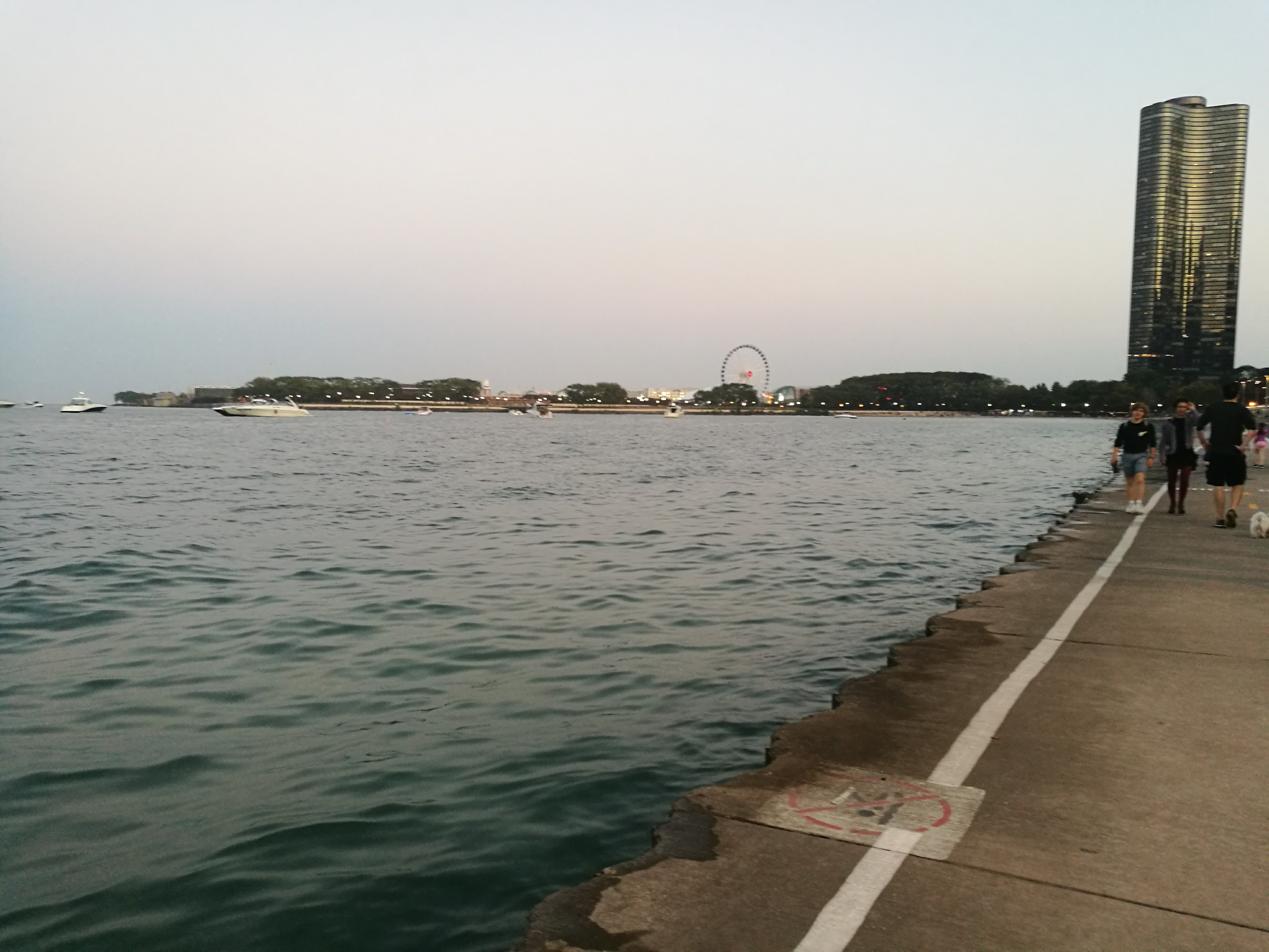 walking along Lake Shore Drive in Chicago