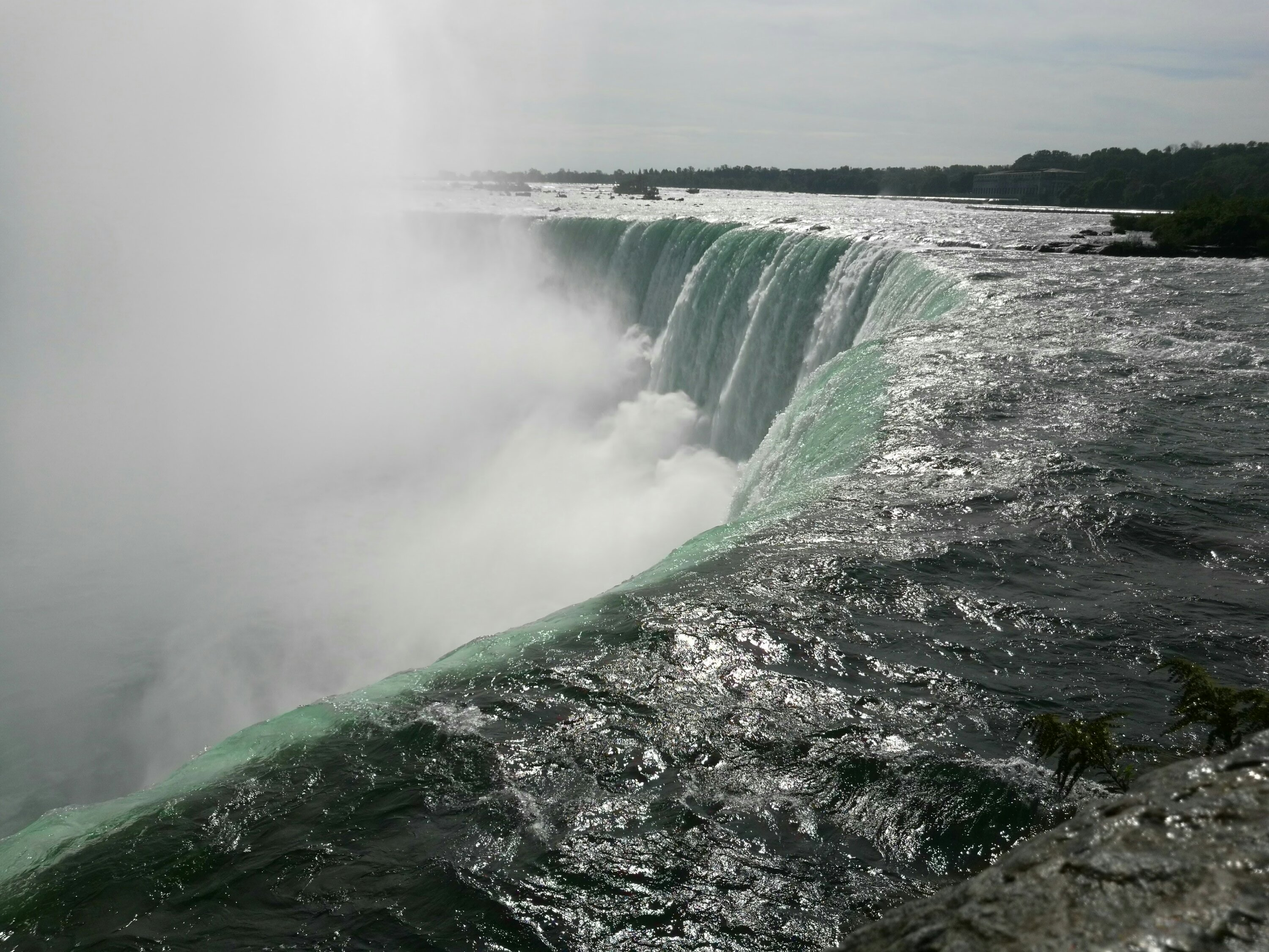 A side view of the Horseshoe Falls at Niagara