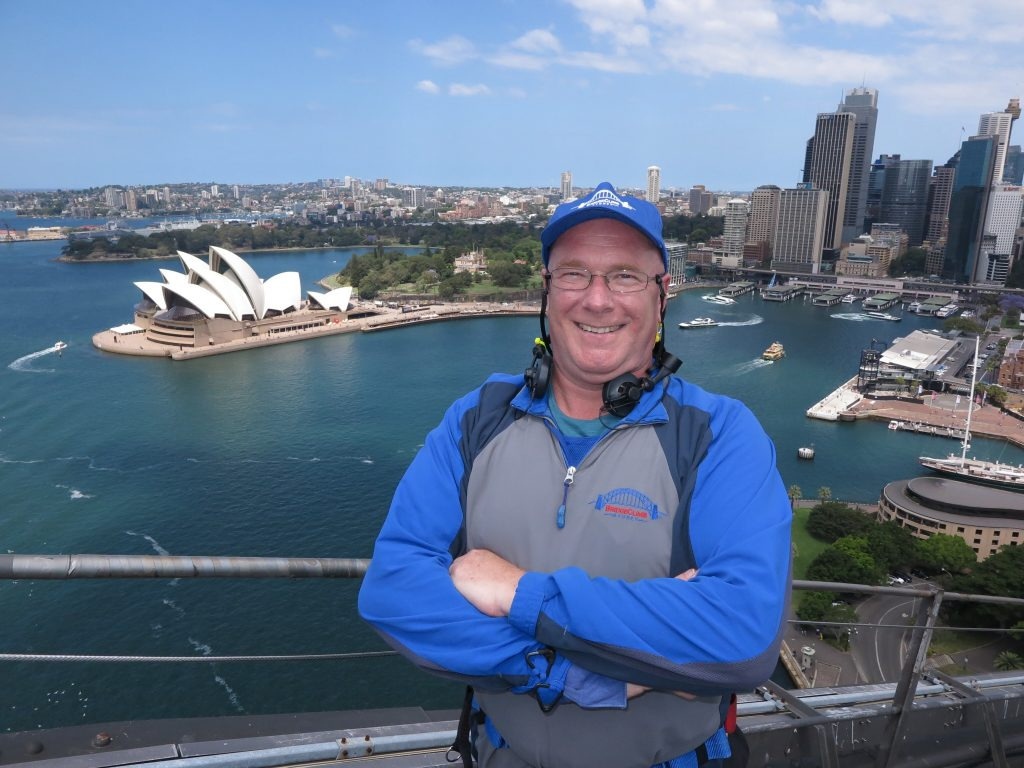 Mr C at the top of Sydney Harbour Bridge