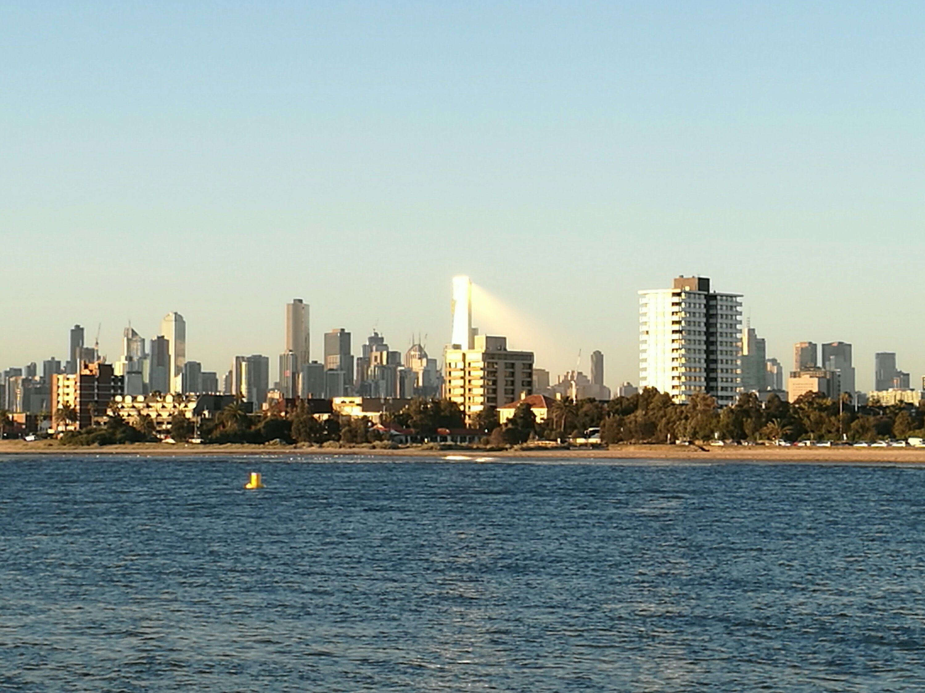 Melbourne viewed from St Kilda at Sunset