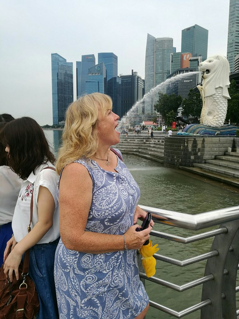 The famous Merlion Fountain in Singapore