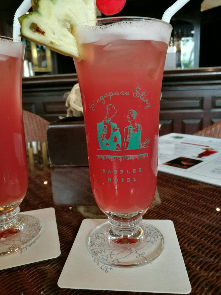 A singapore Sling at Raffles Hotel