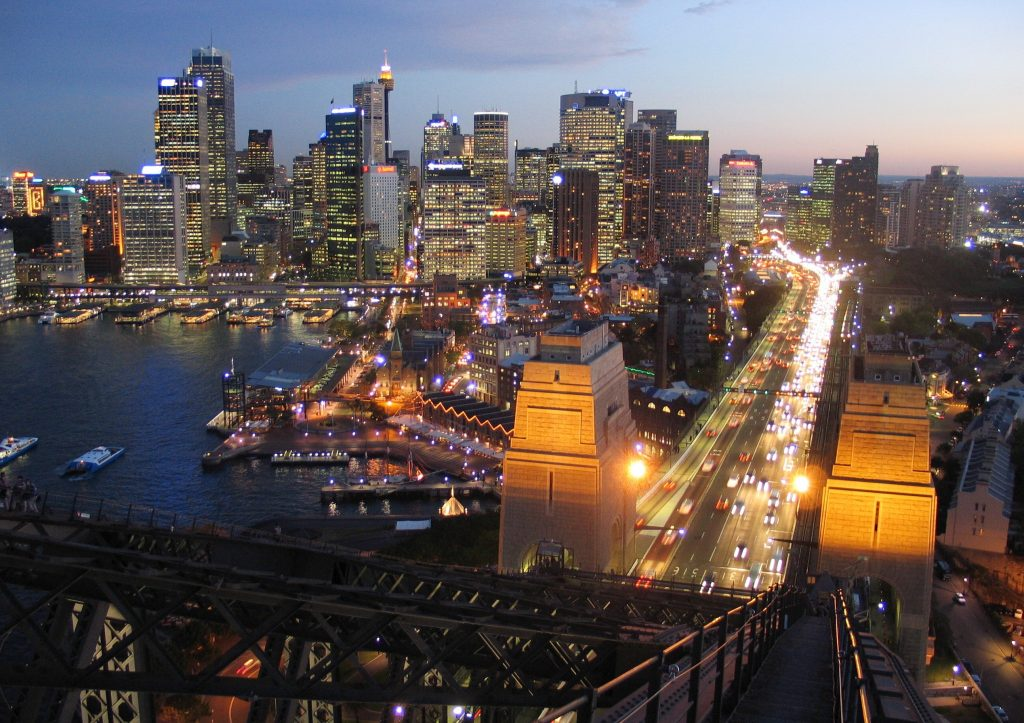 Looking back down to the Sydney Skyline