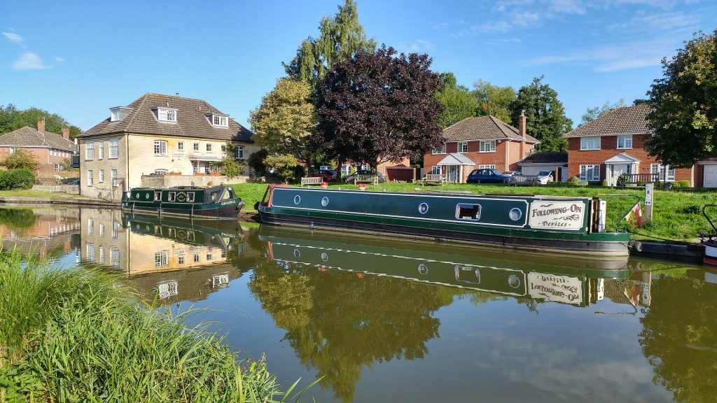 NarrowBoat moorings on a quiet canal