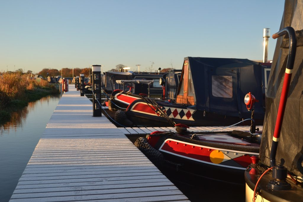 Narrowboats moored on the canal